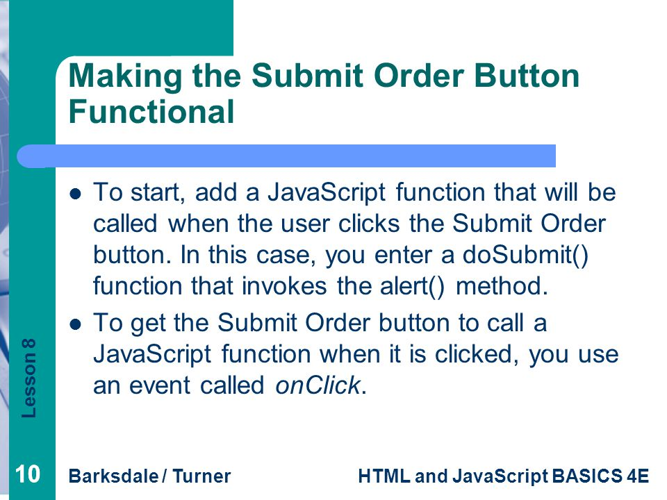 Making the Submit Order Button Functional