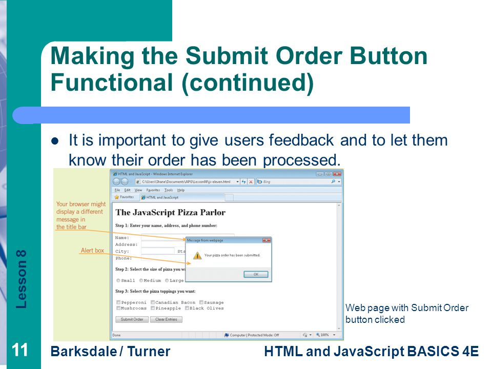 Making the Submit Order Button Functional (continued)