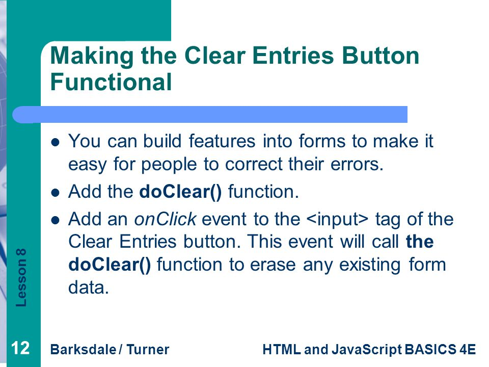 Making the Clear Entries Button Functional