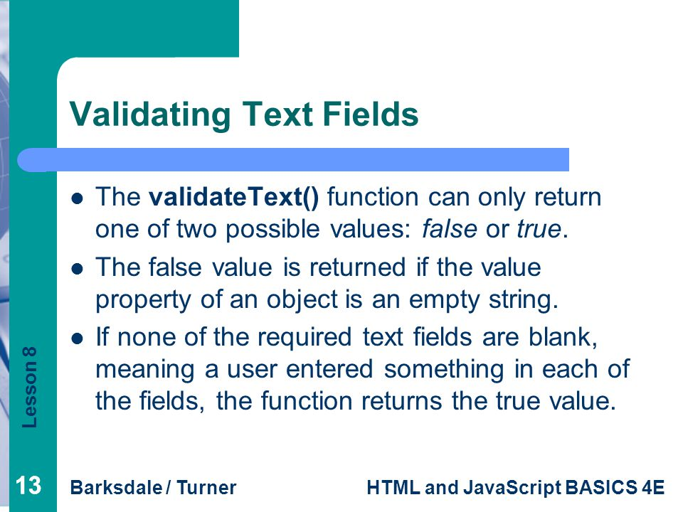 Validating Text Fields
