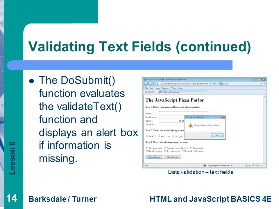 Validating Text Fields (continued)