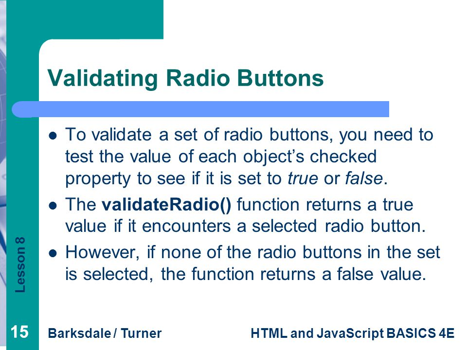 Validating Radio Buttons