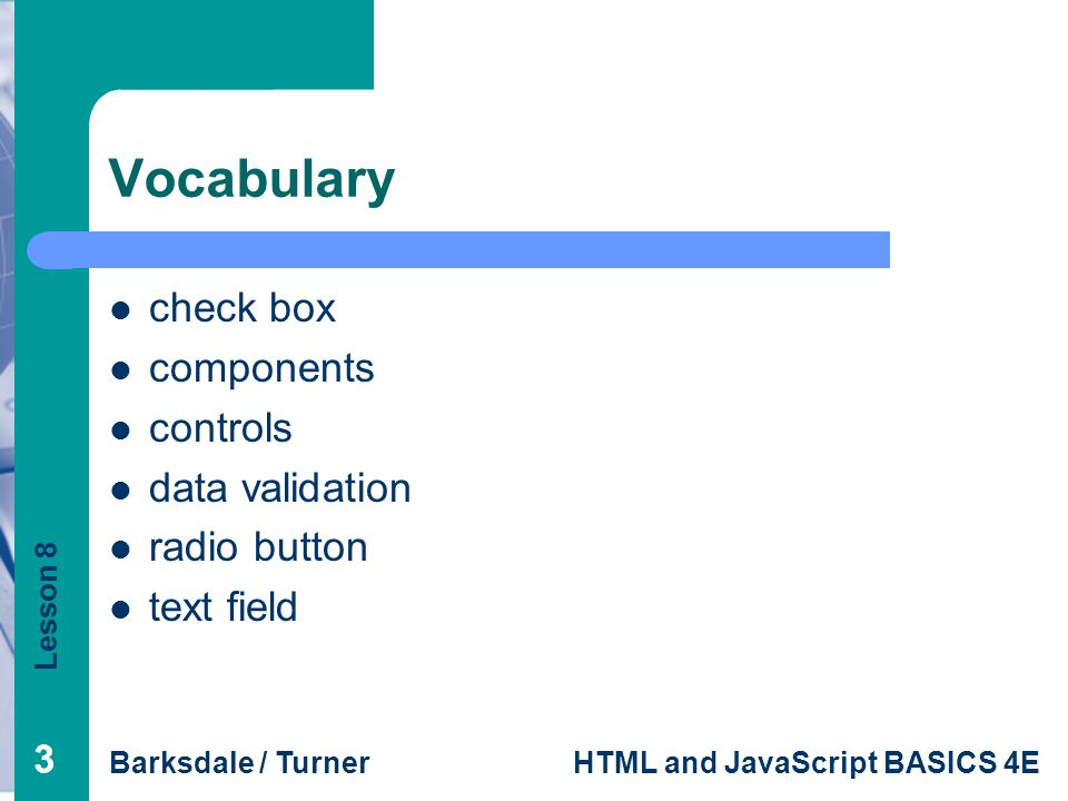 Vocabulary check box components controls data validation radio button