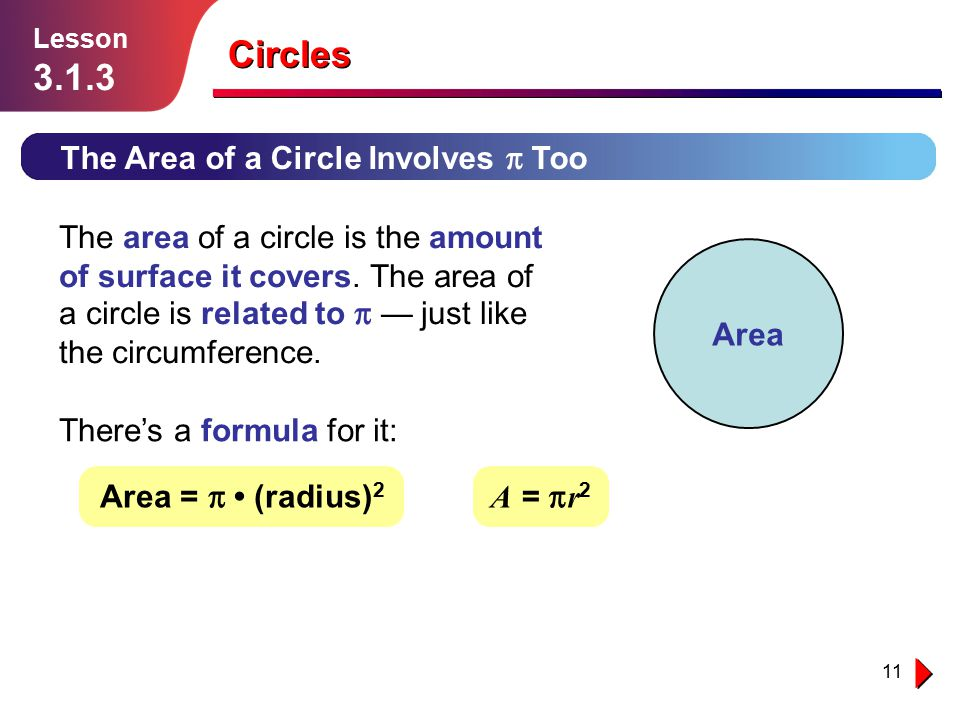 Circles The Area of a Circle Involves p Too