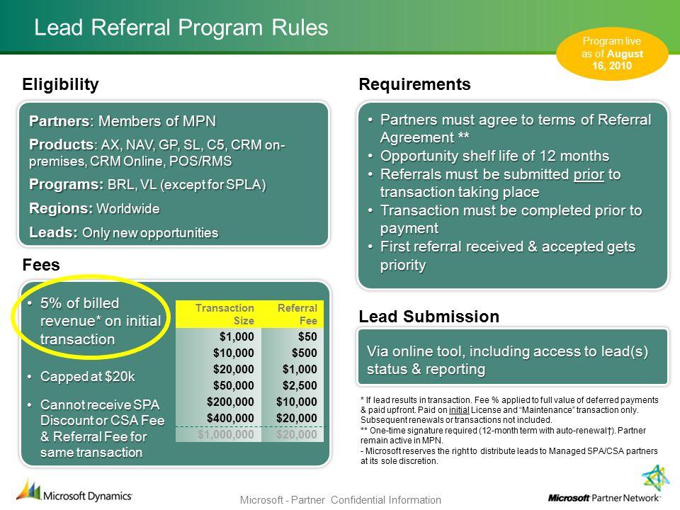 Microsoft Partner Network Dynamics Lead Referral Program
