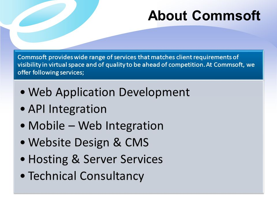 About Commsoft Web Application Development API Integration