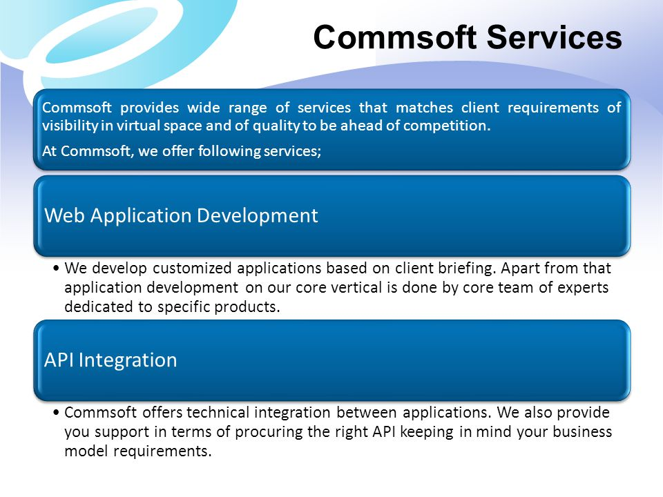 Commsoft Services Web Application Development API Integration