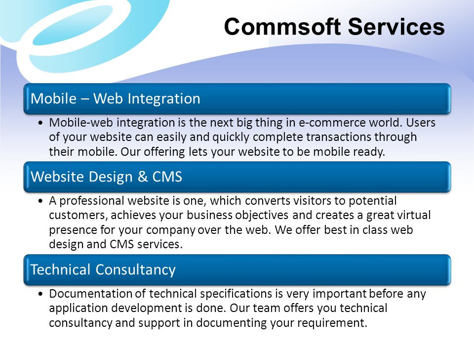 Commsoft Services Mobile – Web Integration Website Design & CMS