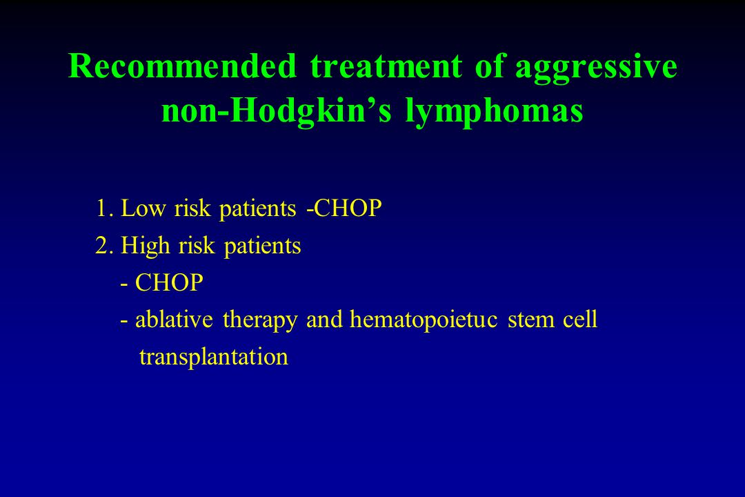 Recommended treatment of aggressive non-Hodgkin's lymphomas