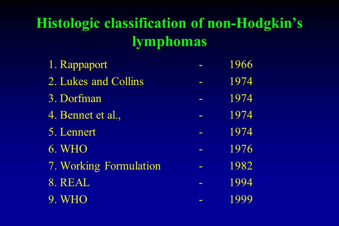 Histologic classification of non-Hodgkin's lymphomas