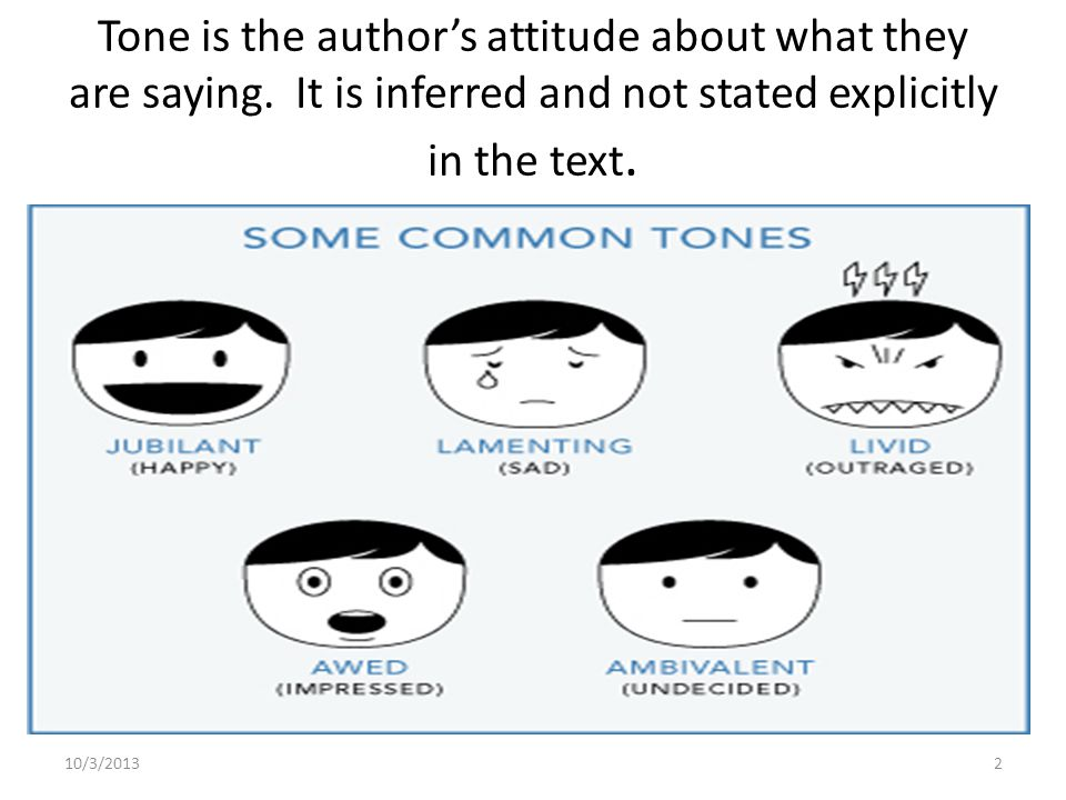 Tone is the author's attitude about what they are saying