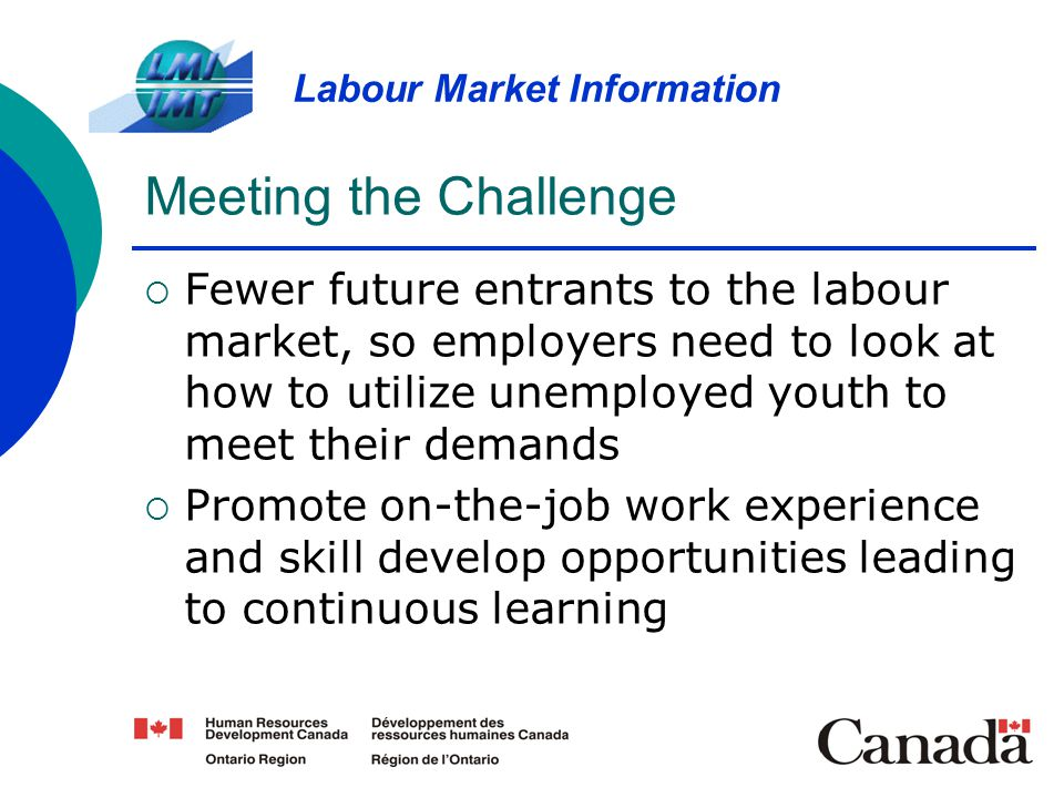 Meeting the Challenge Fewer future entrants to the labour market, so employers need to look at how to utilize unemployed youth to meet their demands.