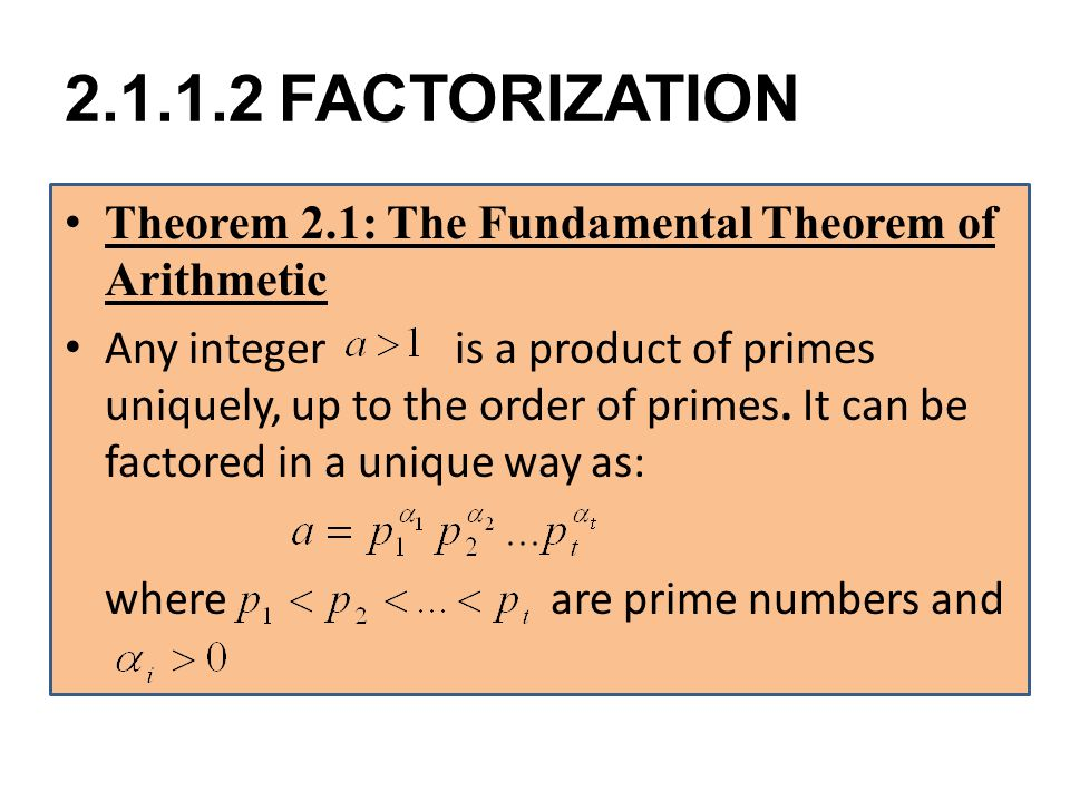 FACTORIZATION Theorem 2.1: The Fundamental Theorem of Arithmetic.