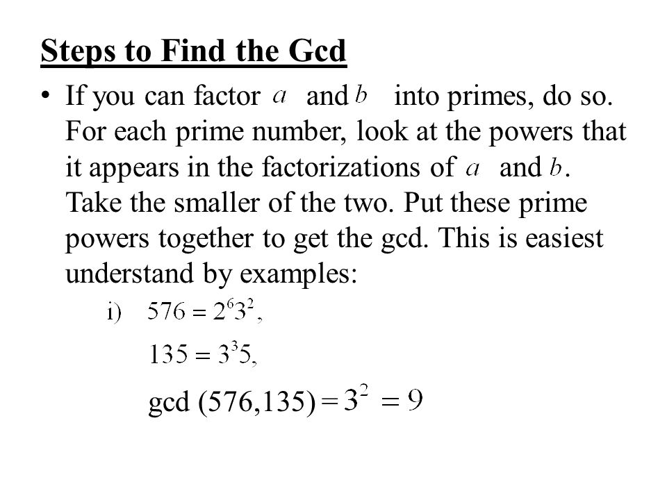 Steps to Find the Gcd