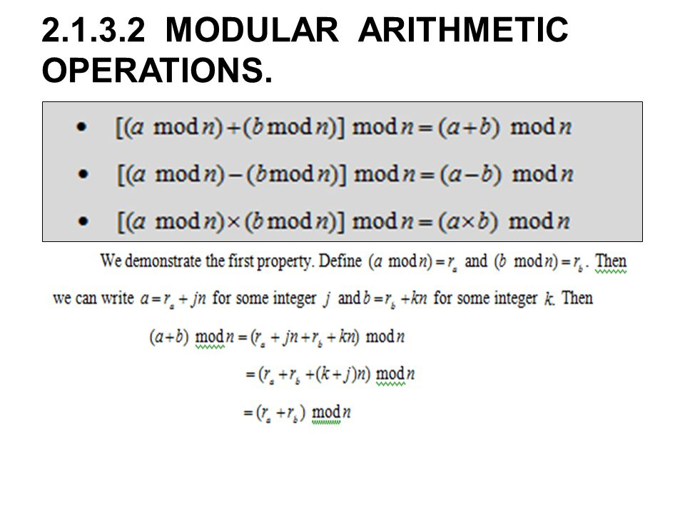 MODULAR ARITHMETIC OPERATIONS.