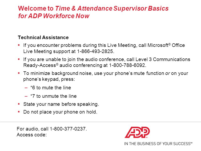 Time & Attendance Supervisor Basics for ADP Workforce Now - ppt download