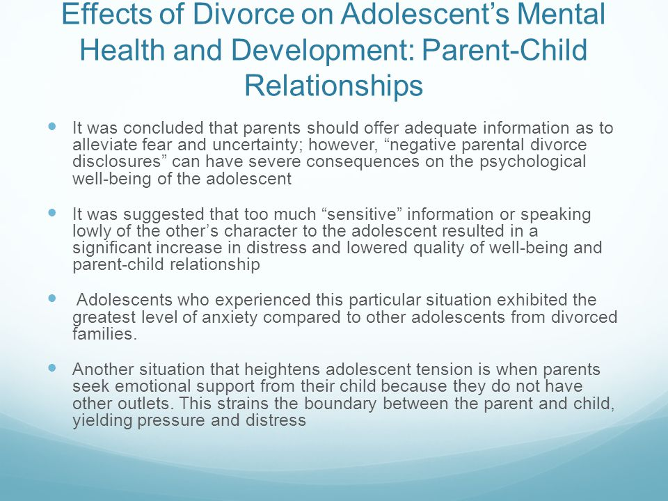 The Effects of Divorce on Adolescent Development - ppt download