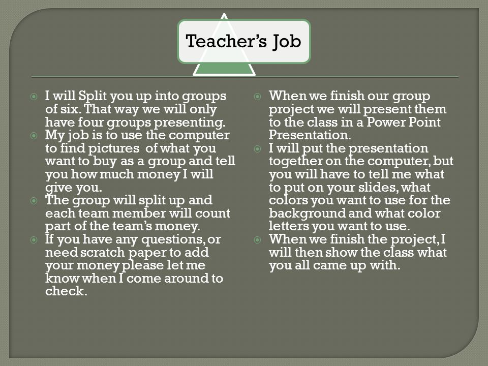 Teacher's Job I will Split you up into groups of six. That way we will only have four groups presenting.