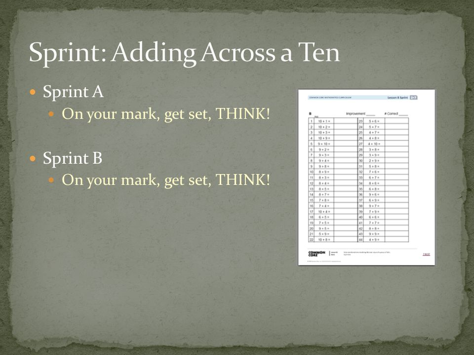 Sprint: Adding Across a Ten