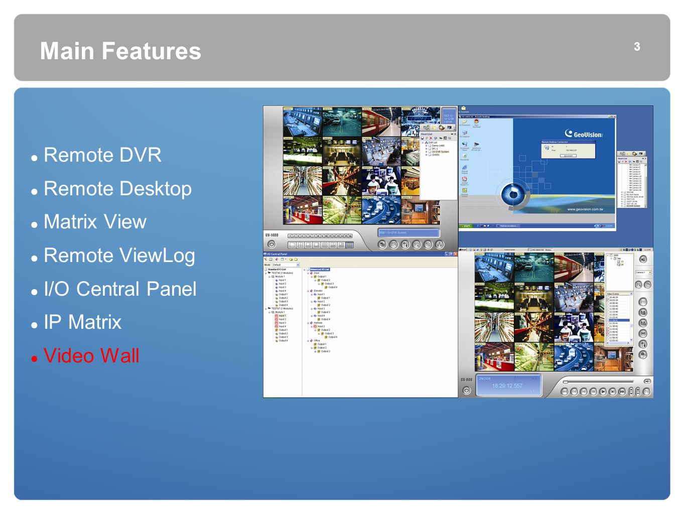 Main Features Remote DVR Remote Desktop Matrix View Remote ViewLog