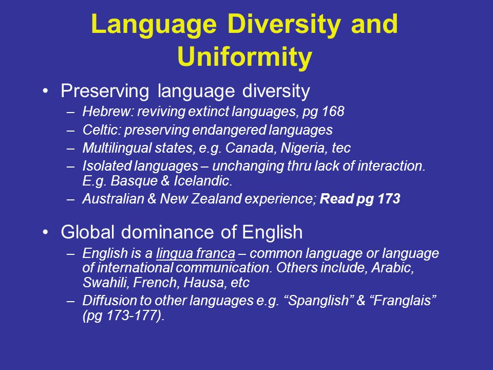 Language Diversity and Uniformity
