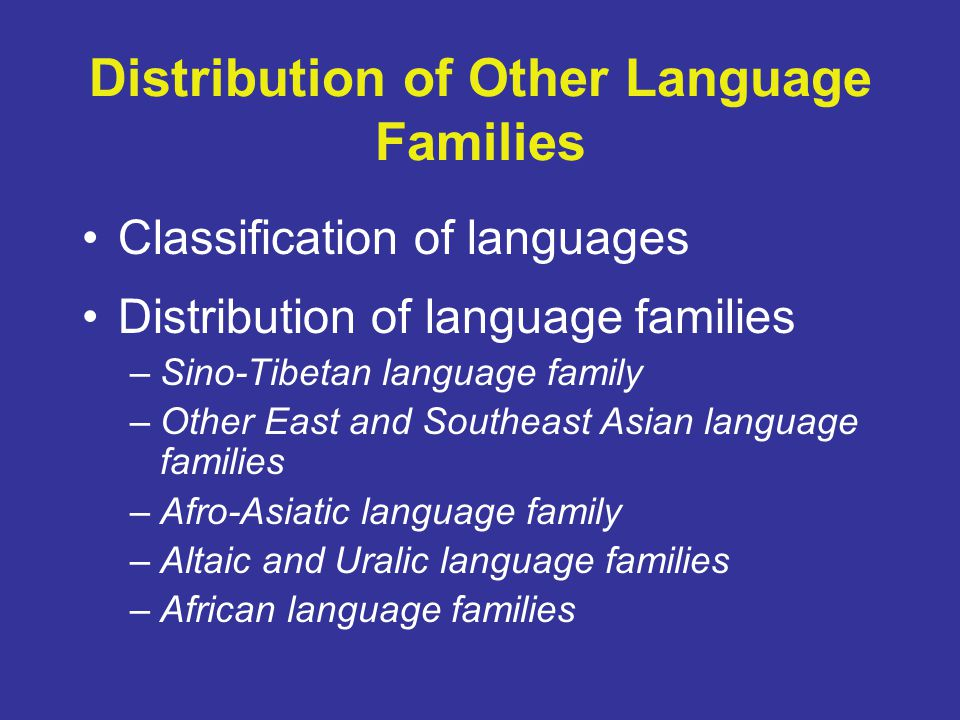 Distribution of Other Language Families