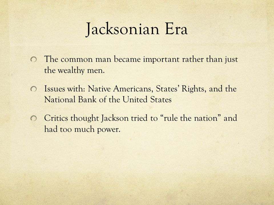 the jacksonian period