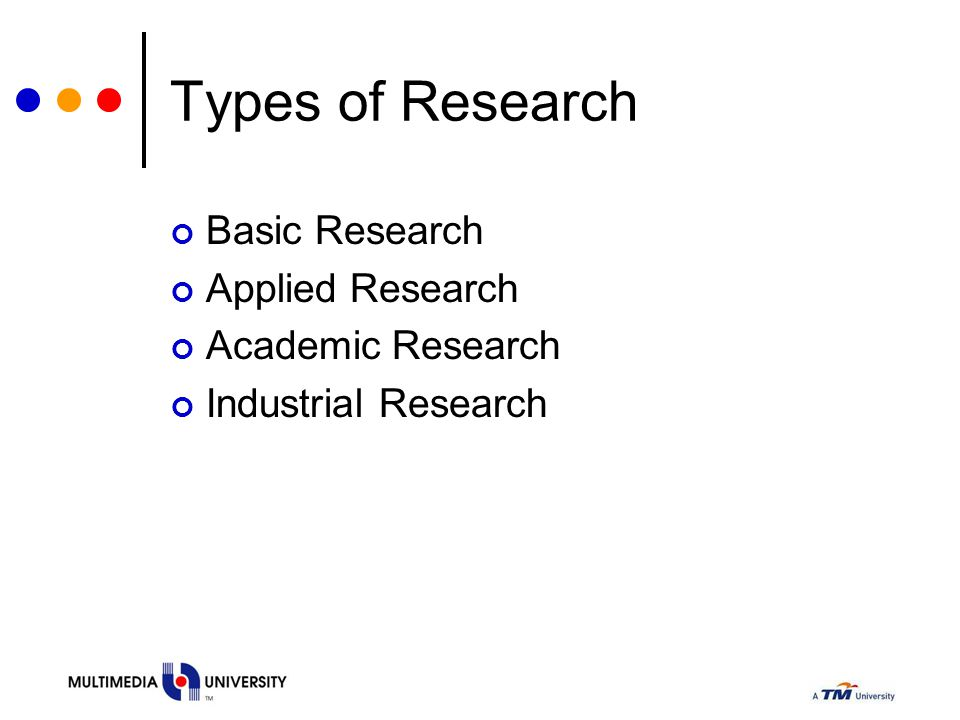 Types of Research Basic Research Applied Research Academic Research