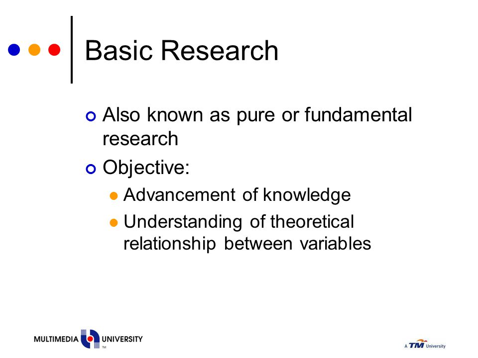 Basic Research Also known as pure or fundamental research Objective: