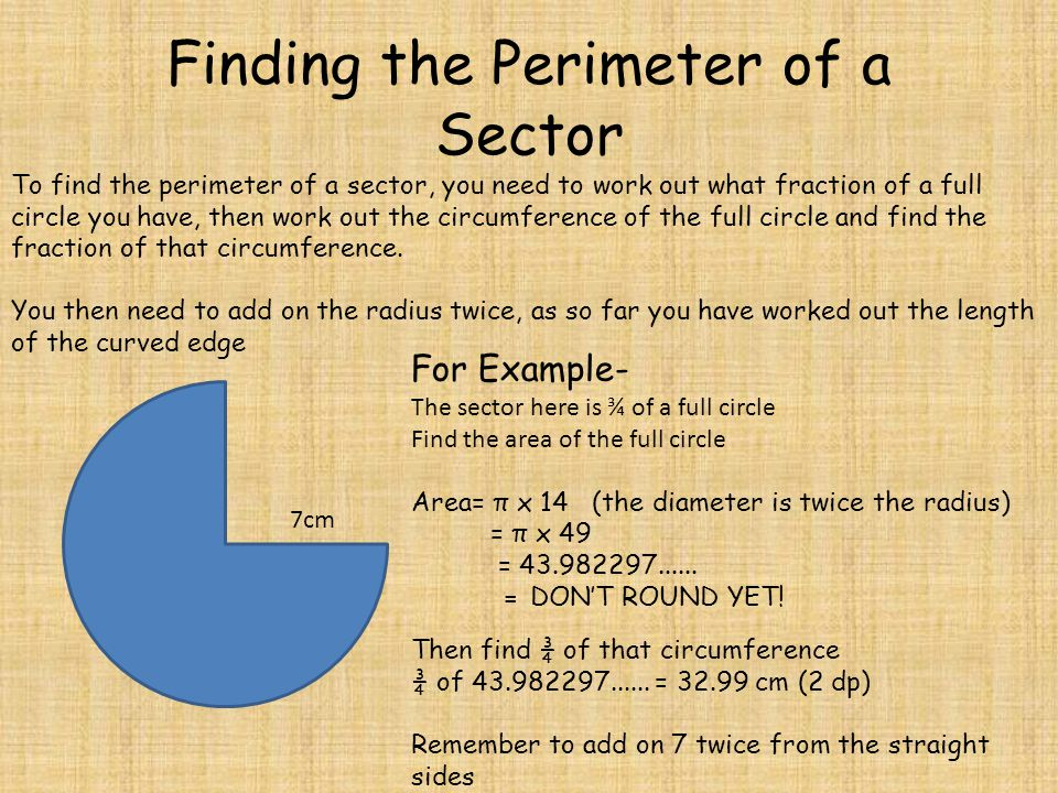 how to find the perimeter of a circle segment
