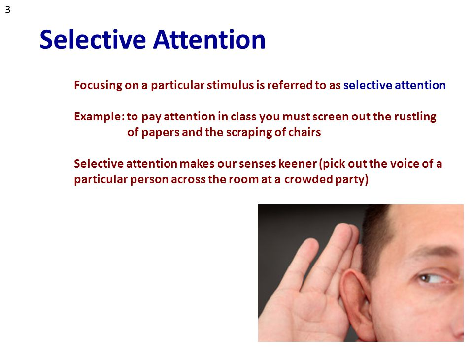selective attention and irrelevant stimuli essay Selective mutism essay seen especially in children and adolescents is selective mutism selective mutism is an anxiety disorder in which a child is unable to talk and express his or her feelings in certain situation and to certain people persistently.