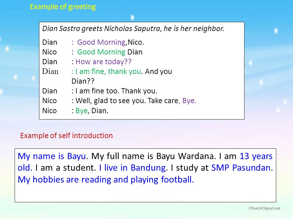 Greetings and introduction ppt video online download example of greeting dian sastro greets nicholas saputra he is her neighbor dian m4hsunfo