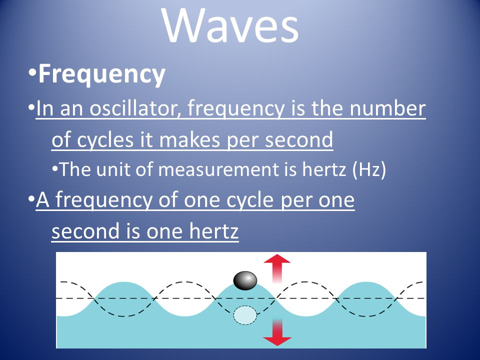Waves Frequency In an oscillator, frequency is the number