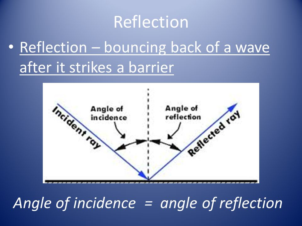 Reflection Reflection – bouncing back of a wave after it strikes a barrier.