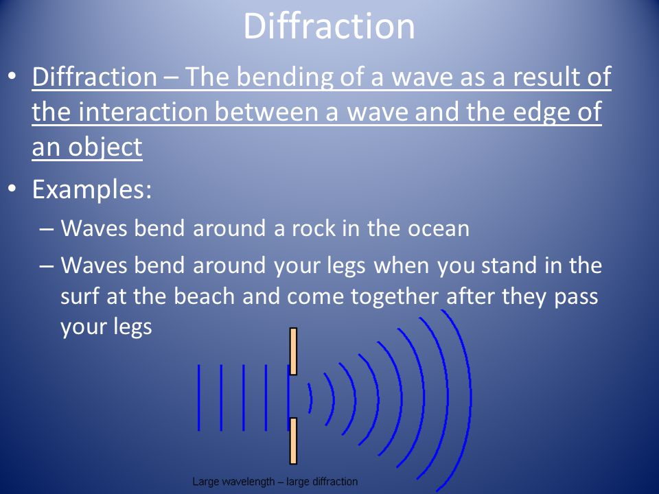 Diffraction Diffraction – The bending of a wave as a result of the interaction between a wave and the edge of an object.