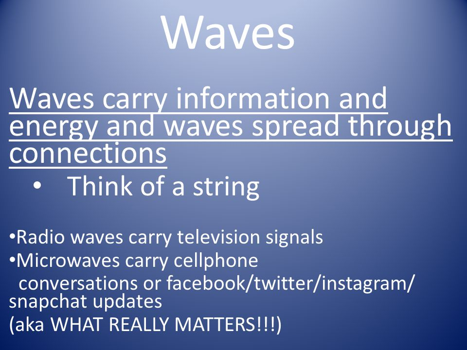 Waves Waves carry information and energy and waves spread through connections. Think of a string. Radio waves carry television signals.