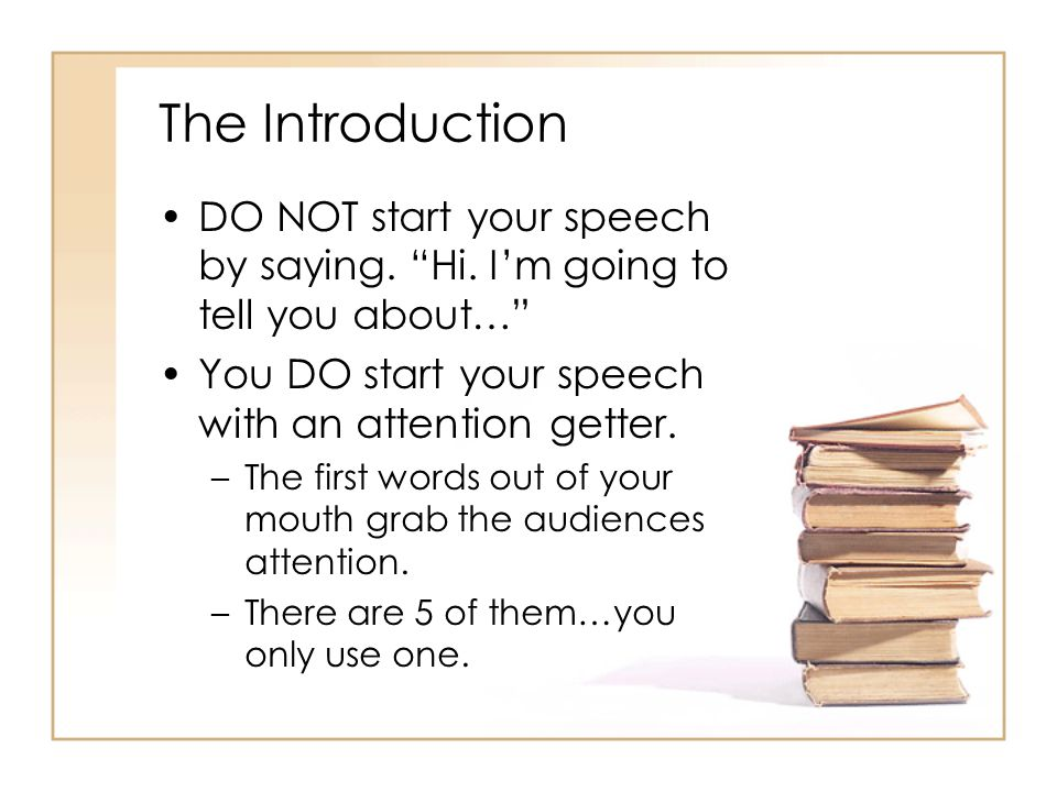 how to start out a speech about yourself