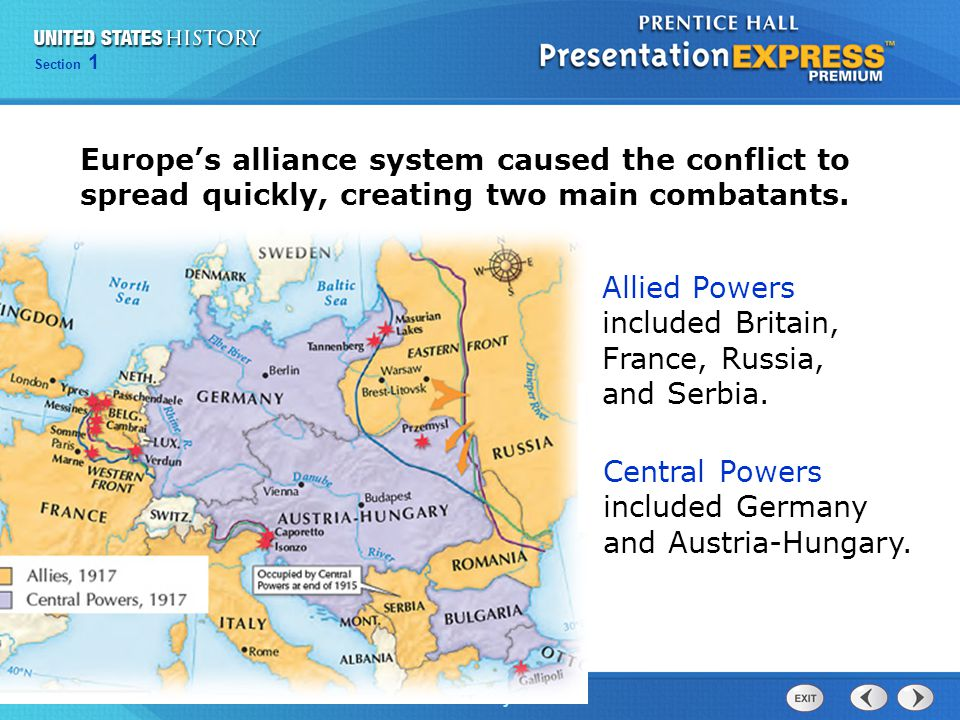 Allied Powers included Britain, France, Russia, and Serbia.