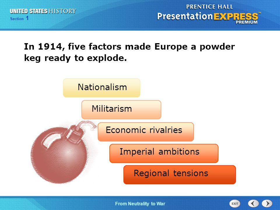 In 1914, five factors made Europe a powder keg ready to explode.