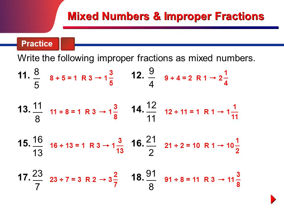 Mixed Numbers & Improper Fractions - ppt video online download