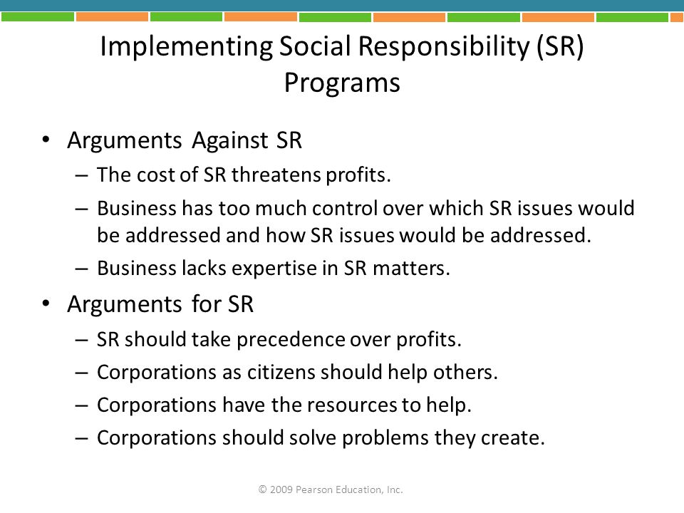 Implementing Social Responsibility (SR) Programs