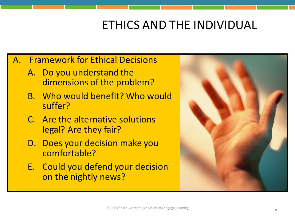 ETHICS AND THE INDIVIDUAL