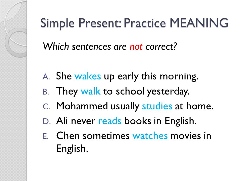 Simple Present: Practice MEANING