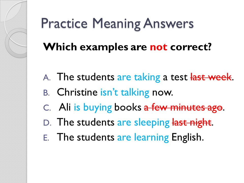 Practice Meaning Answers