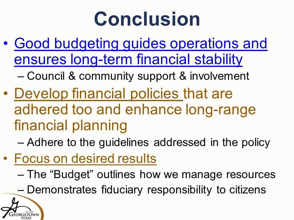 conclusion of budgetary control