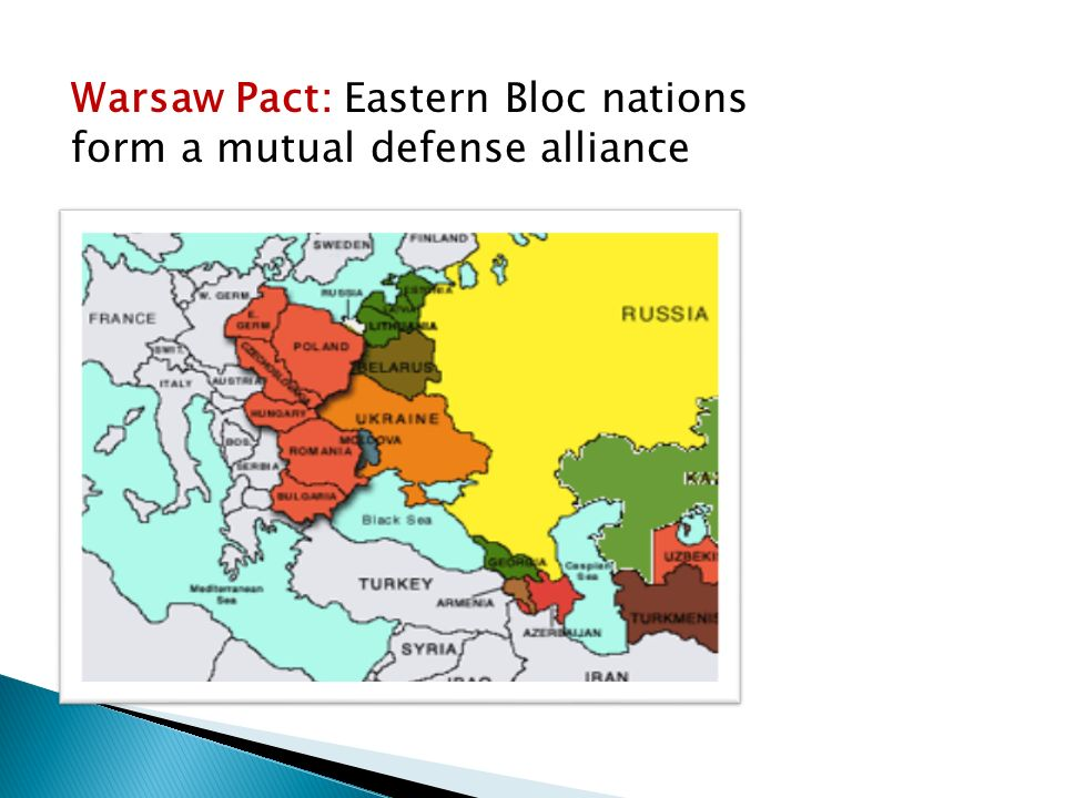 Warsaw Pact: Eastern Bloc nations form a mutual defense alliance