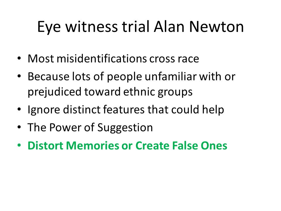 Eye witness trial Alan Newton