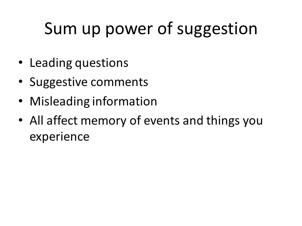 Sum up power of suggestion