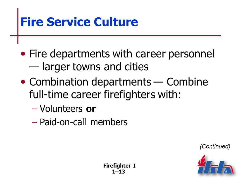 Fire Service Culture Necessary characteristics and behaviors Integrity