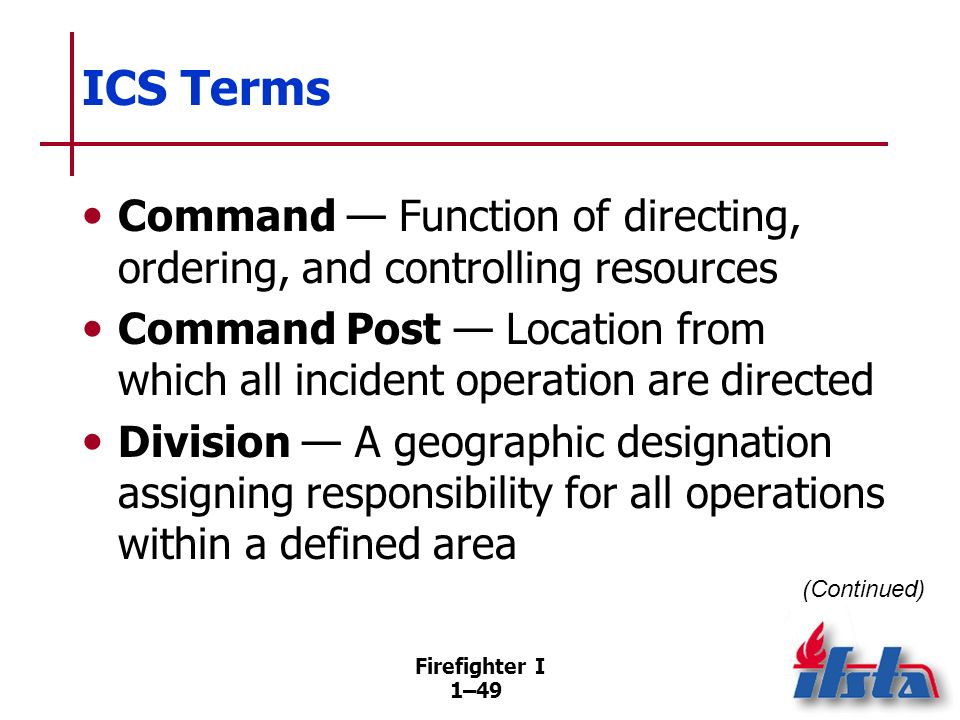 ICS Terms Group — A functional designation